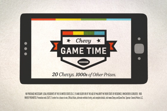 Chevy Super Bowl App Prizes Include New Cars featured image large thumb0