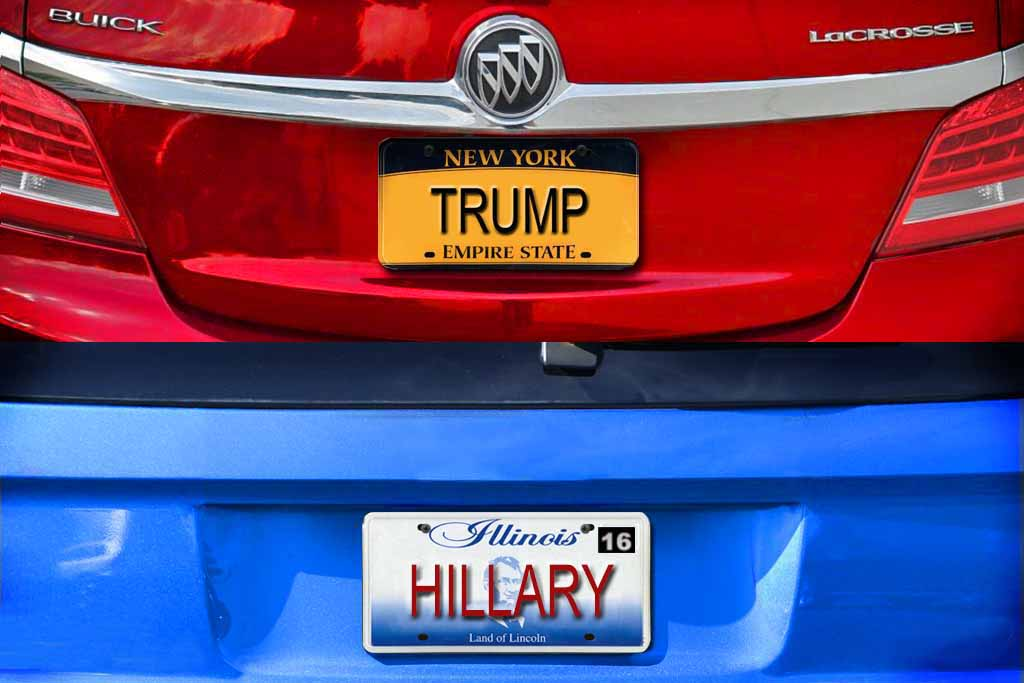 Here Are All the Cars With the Vanity Plates HILLARY and TRUMP Across the Country
