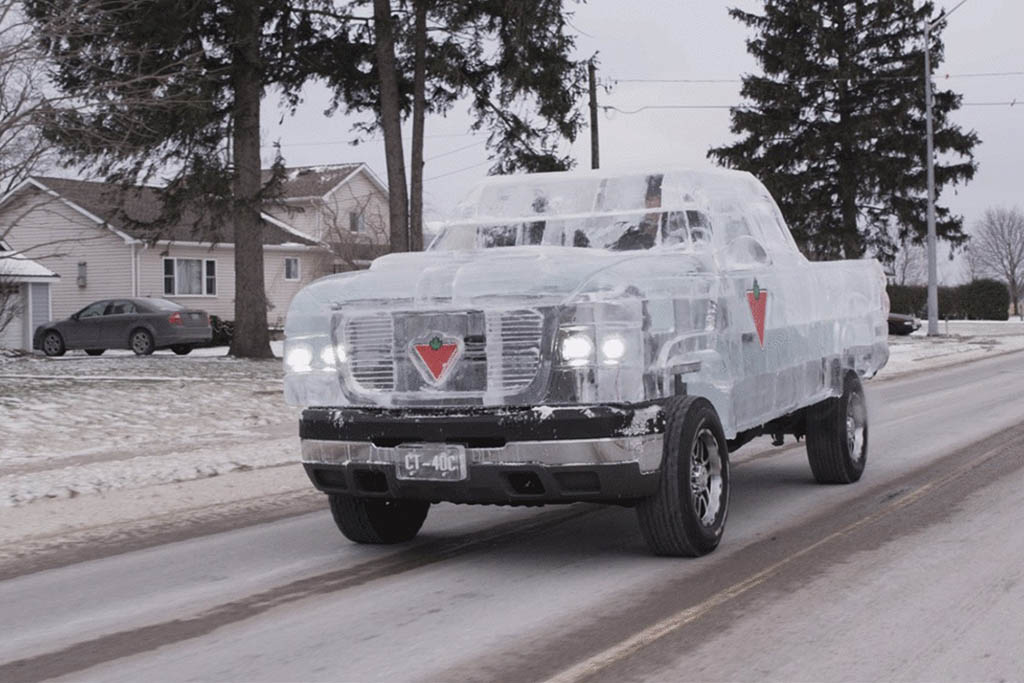 This Is an Actual Working Pickup Truck Made out of Ice