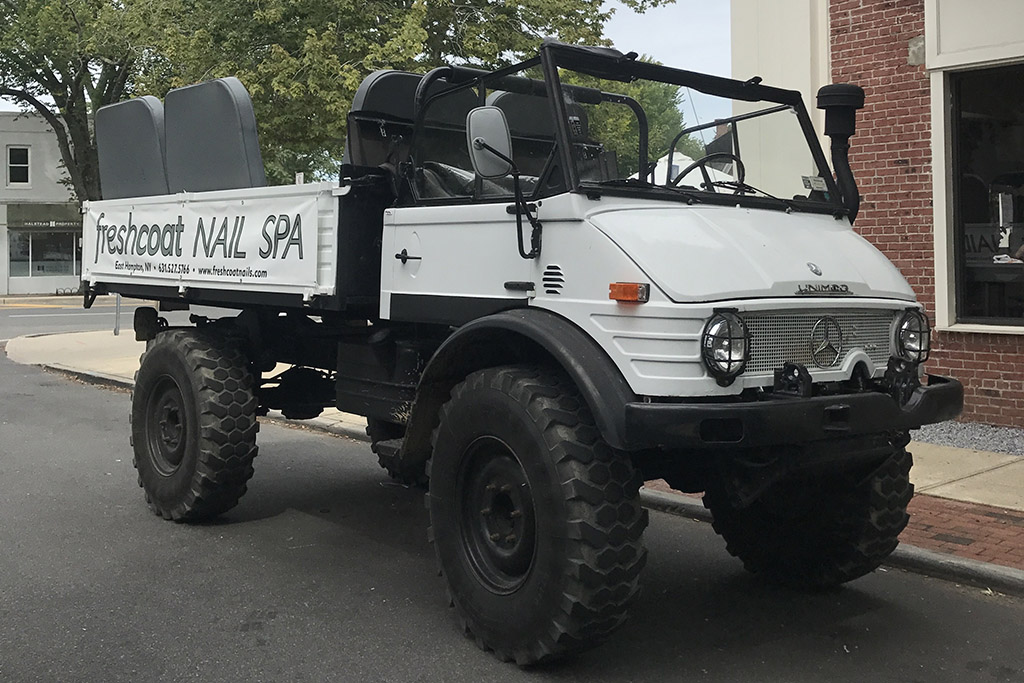 Meet The BeautyMog: A Mercedes Unimog Advertising a Nail Salon