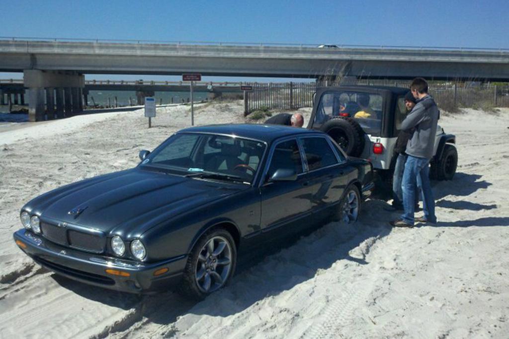 I Drove a Jaguar XJR on the Beach at Amelia Island -- and Got It Stuck