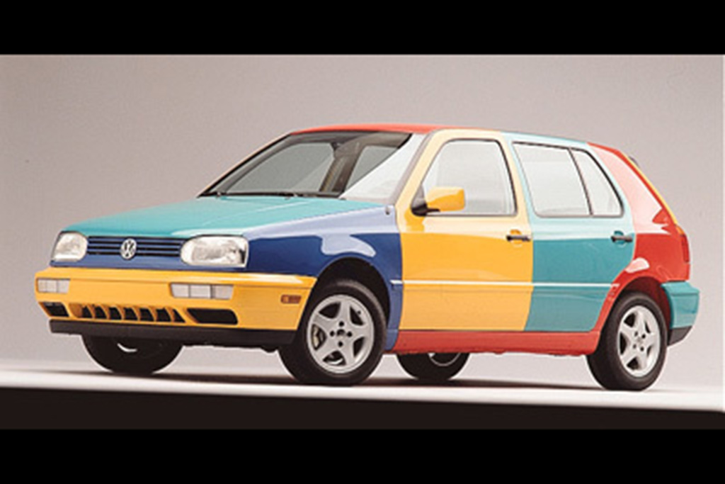 Volkswagen Golf Harlequin: Tornado Red, Ginster Yellow, Pistachio Green and Chagall Blue