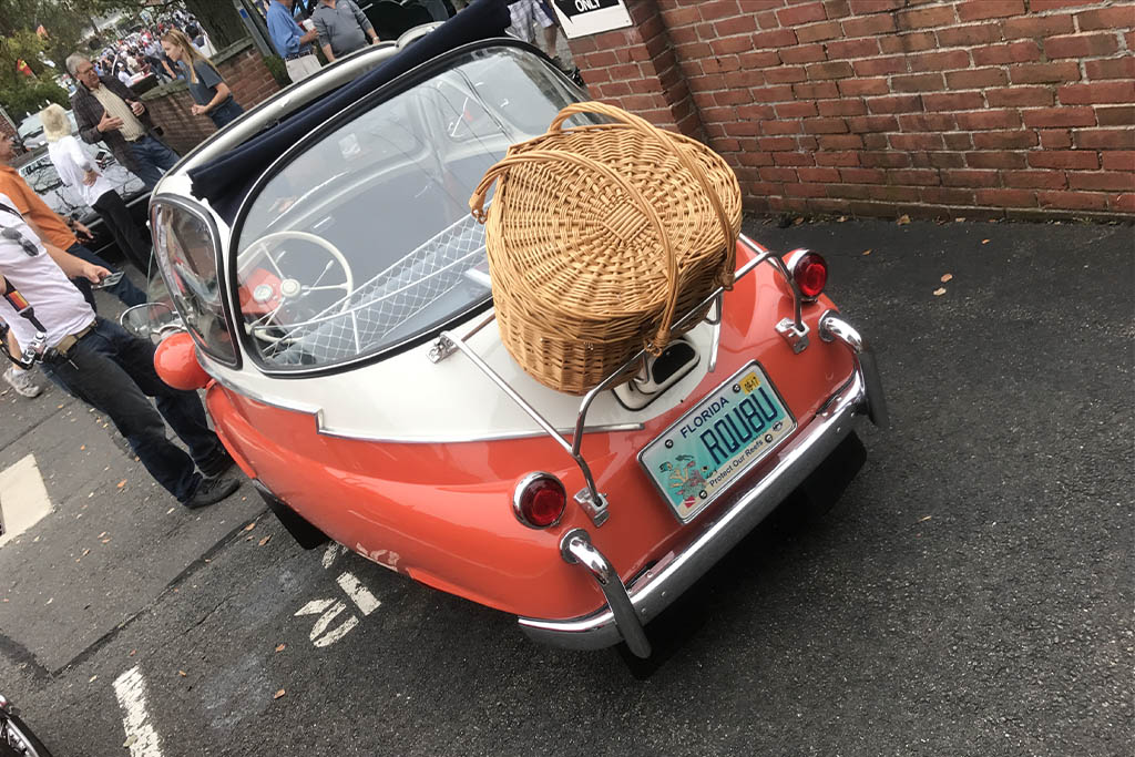 BMW Isetta Bubble car, complete with wicker trunk.
