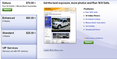 AutoTrader.com car ad choices