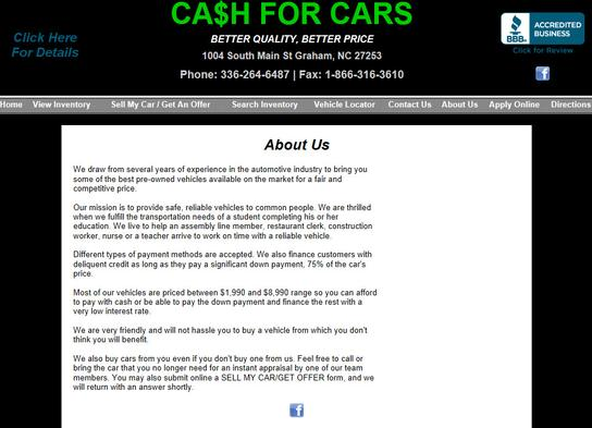 Cash for Cars - NC