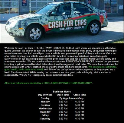 Cash for Cars - NC 2