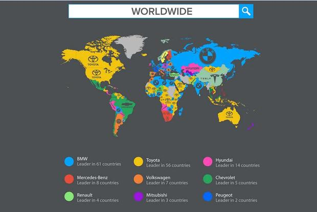 Check Out This Cool Map of the Most-Searched Car Brands by Country featured image large thumb0